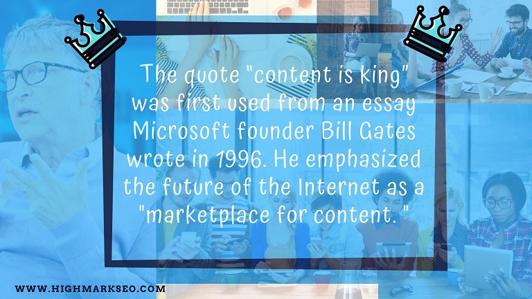 pictures with people and a quote about content is king