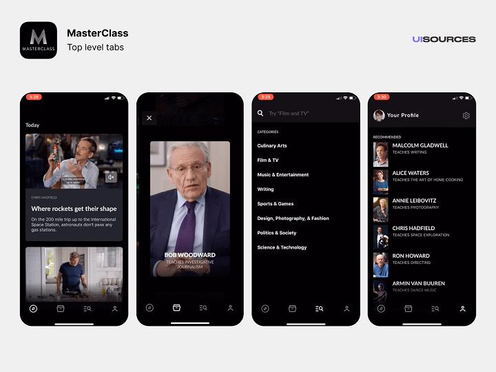 Masterclass Mobile App Interface