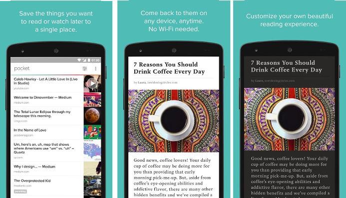 Pocket Mobile App Interface