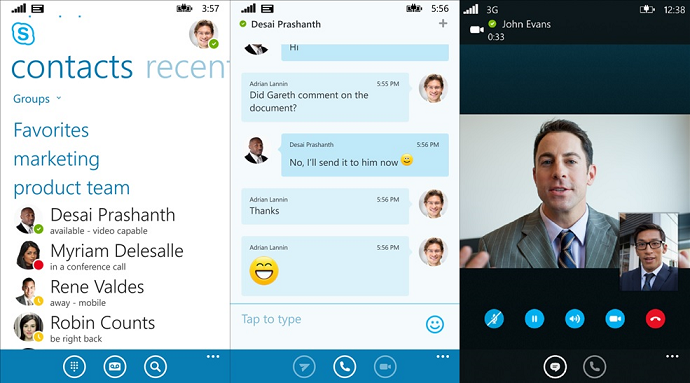 Skype Calls and Chat Mobile Interface