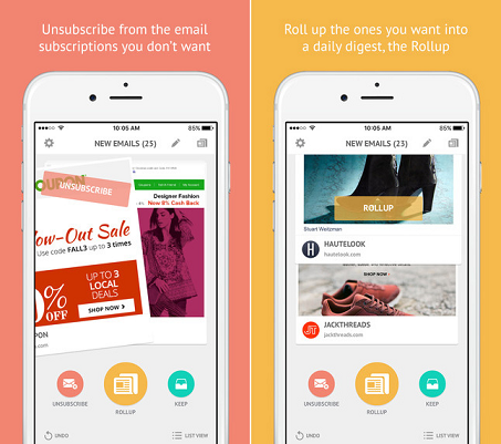 Unroll.me Mobile App Interface