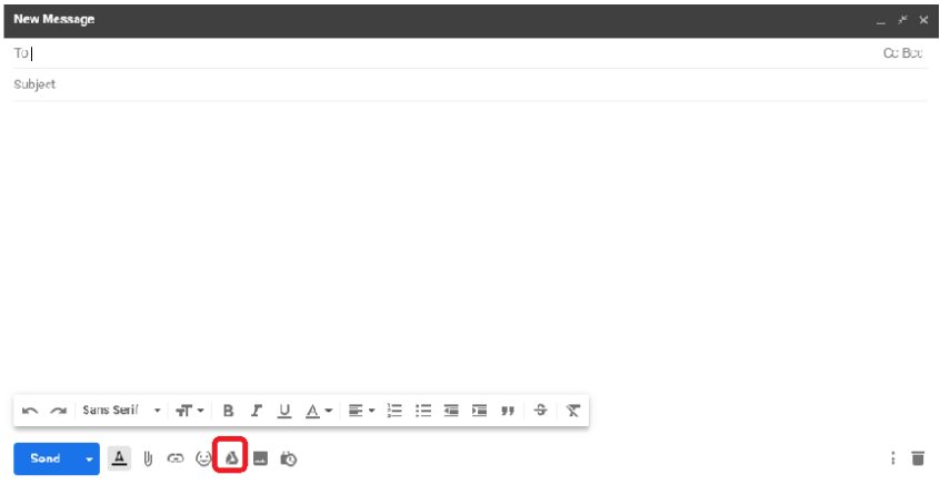 gmail screenshot of new email message