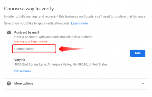 Verify your business with a contact name