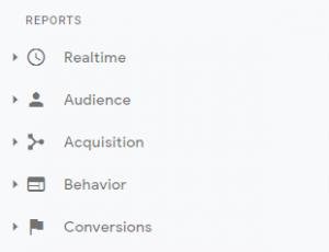 Google Analytics reports menu
