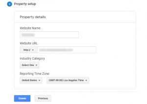 Enter Google Analytics property details