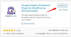 MonsterInsights plugin on WordPress