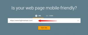 Mobile friendly website test